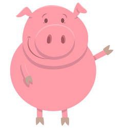 Happy pig farm animal character vector