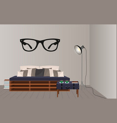 Interior mockup in hipster style floor lamp loft vector