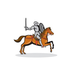 Knight riding horse cartoon vector
