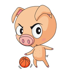 Pig basketball vector image