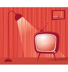 Retro tv room vector