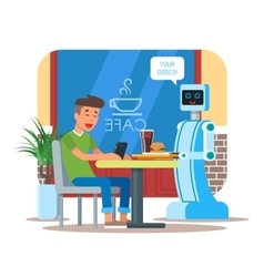 Robot waiter serving cola vector