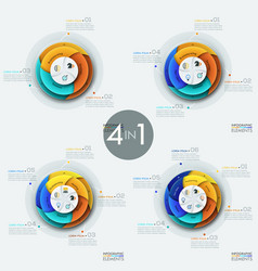 Set of 4 modern circular infographic design vector