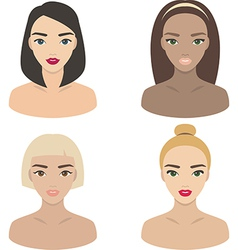 Set of girls icons vector