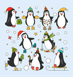 Set of isolated penguin icons vector