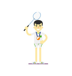 Smiling man badminton player with medal vector