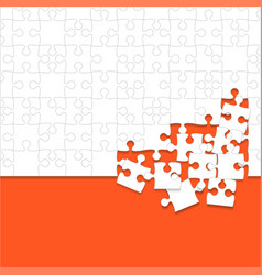 some white puzzles pieces orange - jigsaw vector image