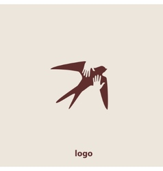 Swallow bird abstract logo design template vector image vector image