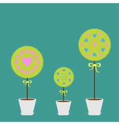 Tree set with heart flowers in the pot Flat design vector image