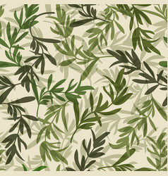 vintage green leaves seamless pattern vector image