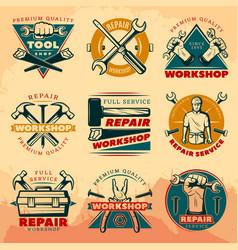 vintage repair workshop color logo set vector image vector image