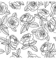 Black outline roses vector