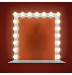 Mirror in bulbs frame with makeup table vector image