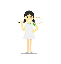 Smiling badminton sportswoman with racket vector