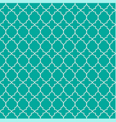 Mint green geometric quatrefoil trellis pattern vector