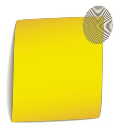 Yellow bend paper with fingerprint vector