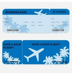 Airline boarding pass blue ticket isolated on vector