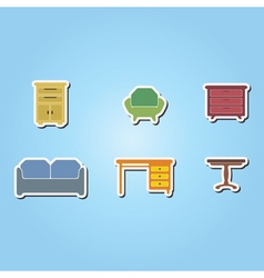 Set of color icons with furniture vector