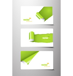 Set of gift cards with rolled corners vector