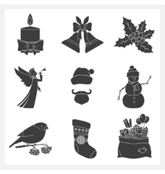 Set monochrome silhouettes christmas icons vector