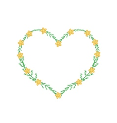 Yellow yarrow flowers in a heart shape frame vector