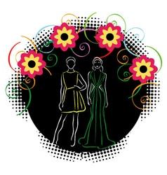 Stylish models in fashion wear vector image