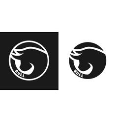Silhouette of an bull monochrome logo vector image
