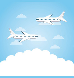 Airplanes flying in the sky vector