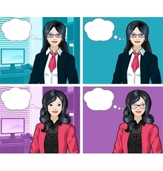 Asian Businesswoman pop art comic vector image