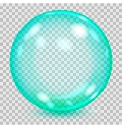 Big turquoise transparent glass sphere vector