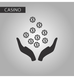 Black and white style coins in hand vector
