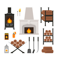Cartoon fireplace icons set vector