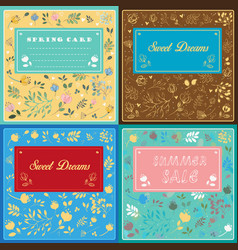 Floral cards with banners for custom text vector