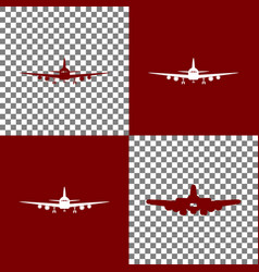 Flying plane sign front view bordo and vector