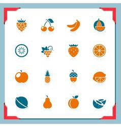 fruits icons - in a frame series vector image vector image