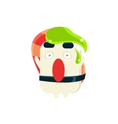 Funny maki sushi character with wasabi drop on the vector