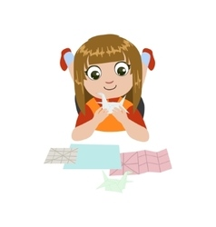 Girl doing origami crane vector