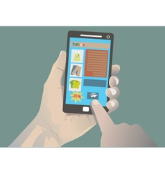 hand holding iphone vector image vector image