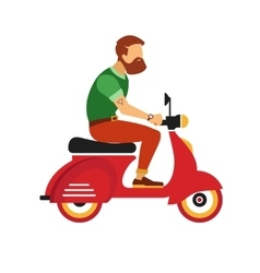 hipster young bearded man character with retro red vector image vector image