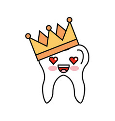 Human tooth with crown kawaii character vector