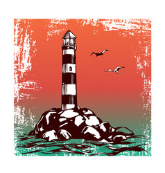 lighthouse and sea landscape hand drawn vector image vector image