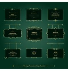 Luxury golden frames and signboards set vector