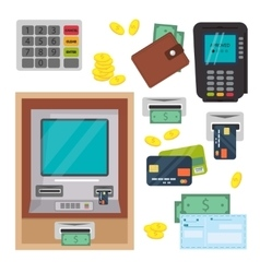 Money atm - cash machine icons set vector image