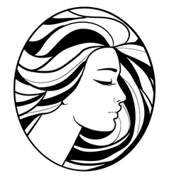 Monochrome drawing profile silhouette vector