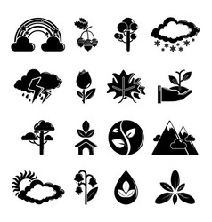 Nature icons set symbols simple style vector