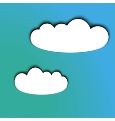 Paper cut looking white clouds with a shadow on a vector image