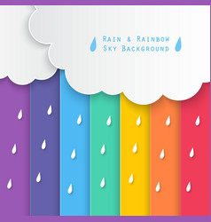 Rain and rainbow sky background vector