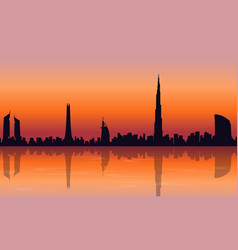 Reflection dubai skyline scenery of silhouettes vector