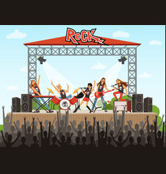 Rock band on stage people on concert music vector
