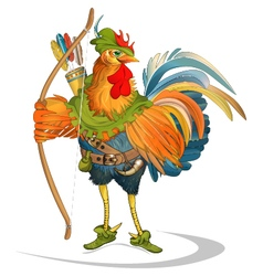 Rooster cock robin hood folk tale vector